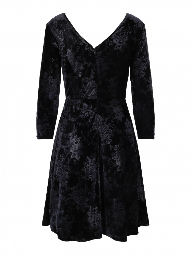 931a2201 Haust Coillection Velvet Wide Dress Black - Torgstua Mote AS